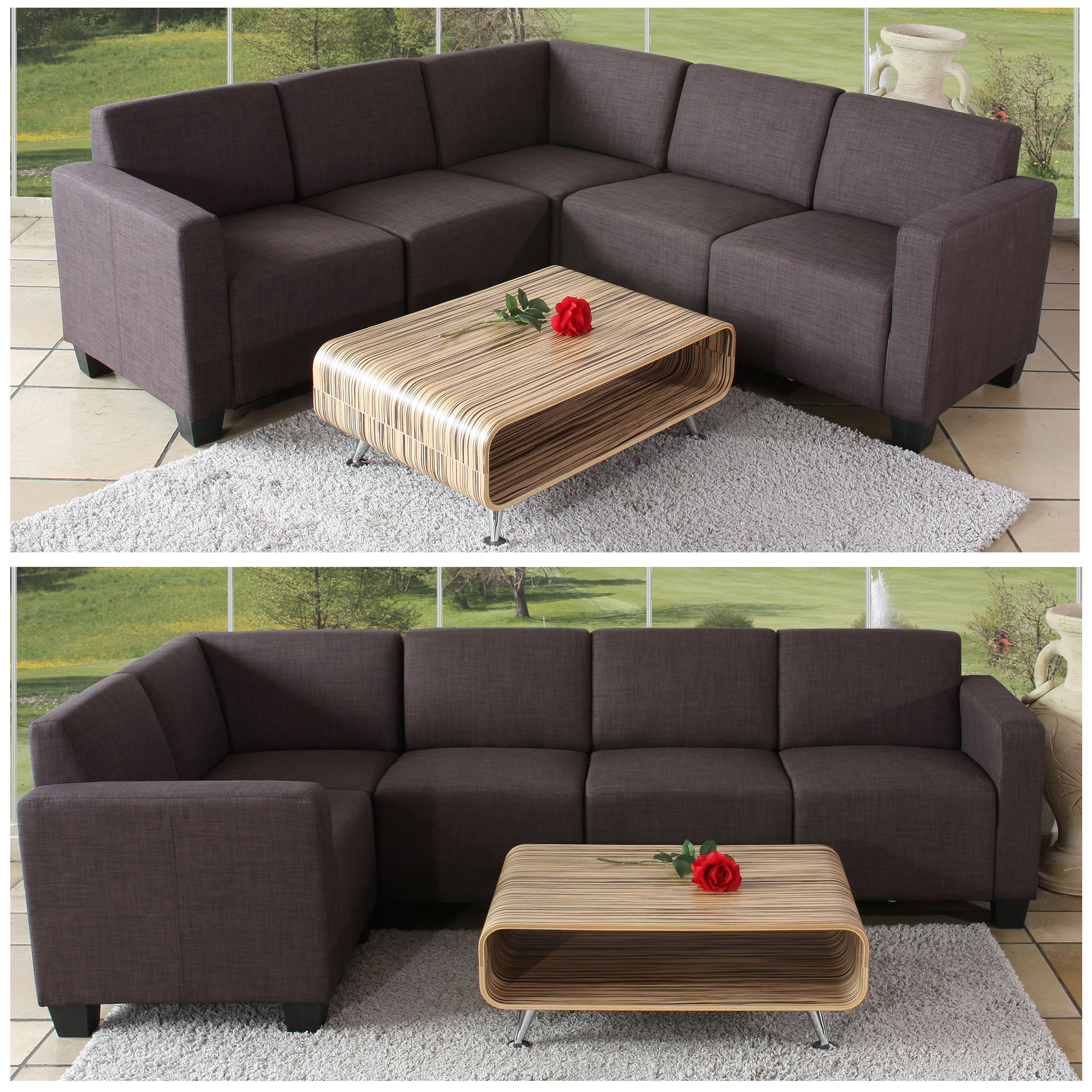 modular sofa system couch garnitur lyon 5 textil braun ebay. Black Bedroom Furniture Sets. Home Design Ideas