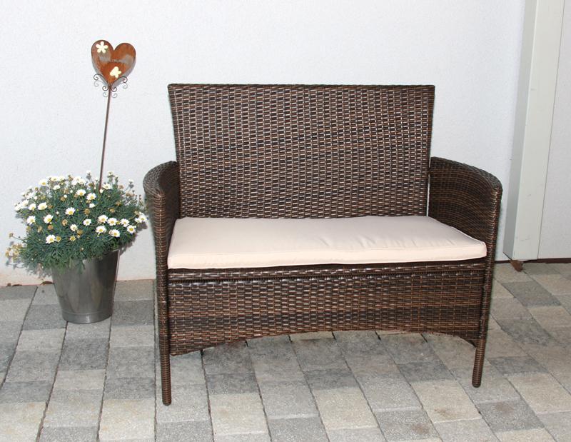 bank sitzbank gartenbank romv poly rattan 108x51x89cm. Black Bedroom Furniture Sets. Home Design Ideas