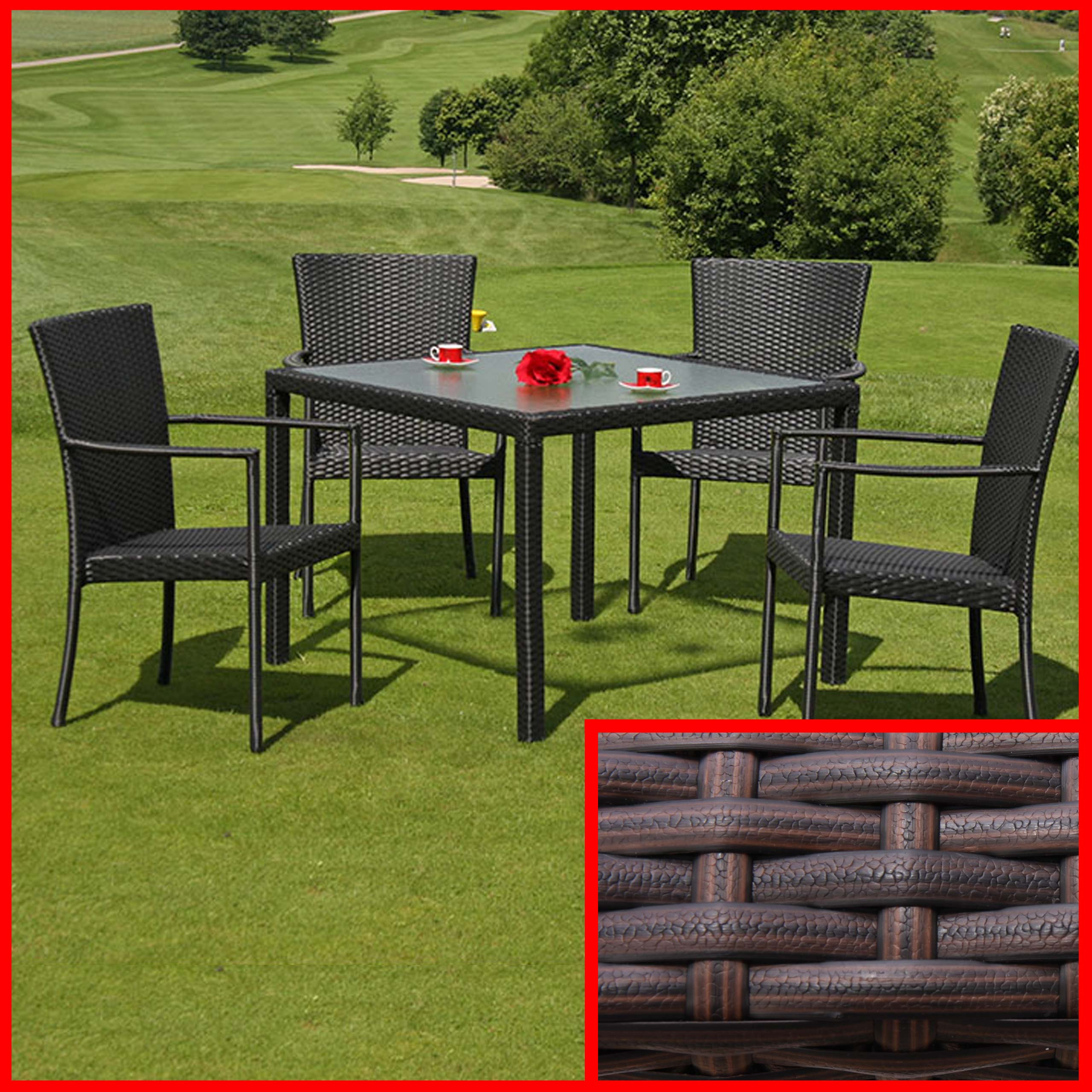 esszimmertisch gartentisch romv poly rattan 100x100x72cm. Black Bedroom Furniture Sets. Home Design Ideas