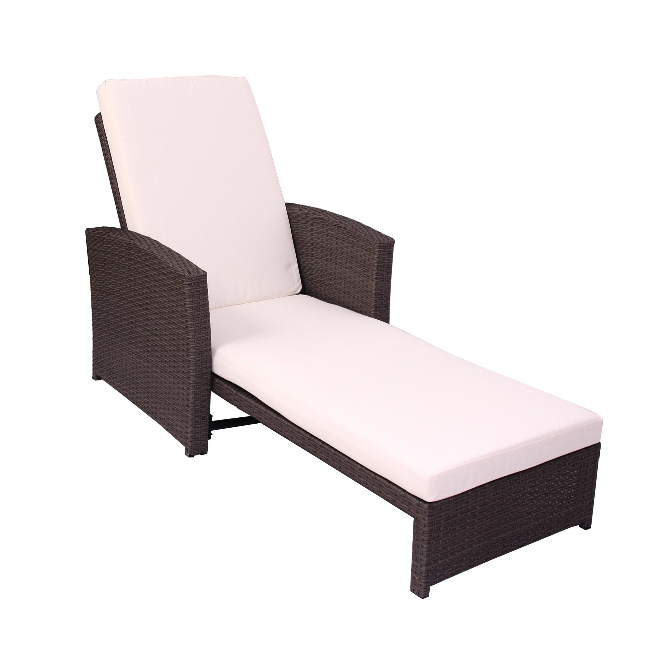 sonnenliege relaxliege gartenliege liege romvi poly rattan braun meliert ebay. Black Bedroom Furniture Sets. Home Design Ideas